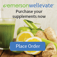 Brand name shown as emerson wellevate. Instructions that say Purchase your supplements now. There is also a Place Order button.